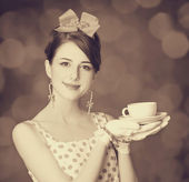 Beautiful women with cup of tea. — Stock Photo