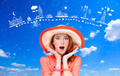 Surprised redhead women and travel map on background — Stok fotoğraf