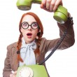 Teacher with green retro phone — Stock Photo