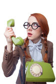 Teacher with green retro phone — Stok fotoğraf