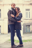 Young teen couple at outdoor. — Stock Photo