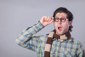 Portrait of funny man in glasses  — Stock Photo