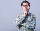 Portrait of funny man in glasses.  — Stock Photo