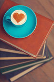 Cup of coffee with shape heart — Photo