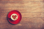 Cup of  сoffee on a wooden table. — Stock Photo