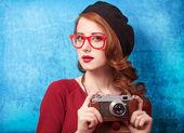 Redhead women in beret  — Stock Photo