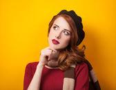 Redhead women in beret  — Foto de Stock