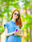 woman in glasses and with notebook  — Foto de Stock