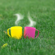 Two cups on coffee on green grass. — Stock Photo #48060951