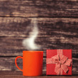 Gift box and cup of coffee — Stock fotografie #48061371