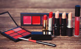 Cosmetics on wooden table. — Stock Photo