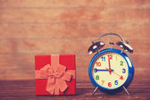 Vintage clock on christmas background — Stockfoto