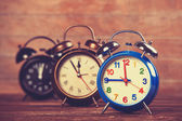 Retro alarm clocks on a table.  — Foto Stock