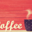 Abstract wooden word Coffee with cup on red wooden background. — Stock Photo #48815397
