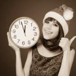 Beautiful woman with huge clock — Stock Photo #50634847