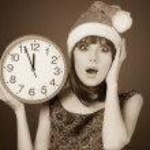 Beautiful woman with huge clock — Stock Photo #50634861