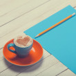 Cup of coffee and paper with pencil — Stok fotoğraf #50635201