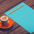 Cup of coffee and pencil with paper. — Stok fotoğraf #50635219