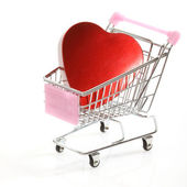 Heart in shopping cart — Stock Photo