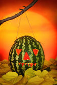 Halloween watermelon lantern — Stock Photo