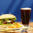 Burger, french fries and soda pop  — Stock Photo #34937191