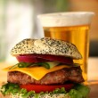 Burger and beer  — Stock Photo