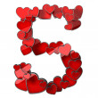 Figure 5 of hearts — Stock Photo