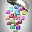 Royalty-Free Stock Photo: Silver platter or cloche with APPS icons