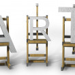 Three wooden easels with ART letters — Stock fotografie
