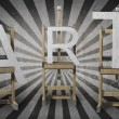 ART concept. three wooden easels with ART letters — Стоковая фотография