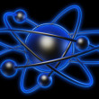 Stock Photo: Conceptual structure of atom on black background 3d render illustration