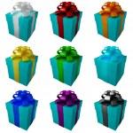collectie blauwe geschenkdozen met kleur lint en strikken — Stockfoto #20315549