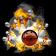 Abstract Bowling Ball crashing into the pins on fire. — Stock Photo