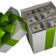 Royalty-Free Stock Photo: Money gift box with green ribbon