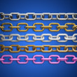 Collection of metal chain parts on blue background 3d render — Stock Photo