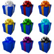Collection dark blue gift boxes with color ribbon and bows — Stock Photo #20319893