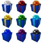 collectie donker blauwe geschenkdozen met kleur lint en strikken — Stockfoto #20319893