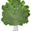 Circuit board tree background 3d illustration. high resolution — Stock Photo #20319897