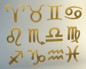Złote znaki zodiaku — Zdjęcie stockowe