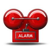Campana de alarma aislada sobre fondo blanco. render 3d de alta resolución — Foto de Stock