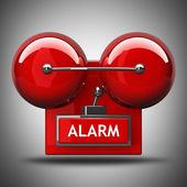 Ogień czerwony dzwon alarmowy. wysokiej rozdzielczości. obraz 3d — Zdjęcie stockowe