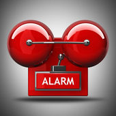 Red fire alarm bell. High resolution. 3D image — Foto Stock