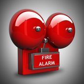 Red fire alarm bell. High resolution. 3D image — Stock Photo