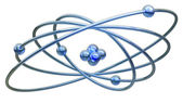 Conceptual structure of atom on white background 3d render illustration — Stock Photo