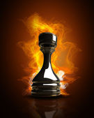 Burning black chess rook in Fire. high resolution 3d illustration — Stock Photo