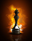 Burning black King in Fire. high resolution 3d illustration — Stock Photo