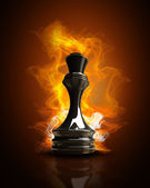 Burning black Queen in Fire. high resolution 3d illustration — Stock Photo