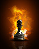 Burning black Pawn in Fire. high resolution 3d illustration — Stock Photo