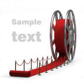 Sinema film rulo ve izole kırmızı halı. 3d çizim. yüksek çözünürlük — Stok fotoğraf
