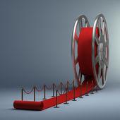 Kino film roll a červený koberec. 3d ilustrace. vysoké rozlišení — Stock fotografie